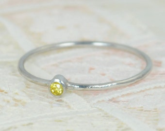Tiny Citrine Ring Set, Solid White Gold Wedding Set, Stacking Ring, White Gold Citrine Ring, November Birthstone, Bridal Set, Topaz Ring