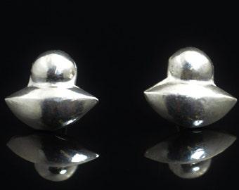 Flying Saucer Earrings, UFO Earrings, statement earrings, alien earrings, Solid Silver Earrings, Silver Stud Earrings, Fun Earrings, Silver