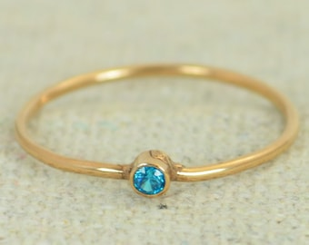 Tiny Rose Gold Filled Blue Zircon Ring, Rose Gold Filled Blue Zircon Ring, Zircon Stacking Ring, Zircon Mothers Ring, December Birthstone