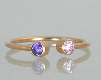 Dual Stone Ring, Cuff Ring, Gold Birthstone Ring, Stacking Ring, Couples Ring, Mothers Ring, Two Stone Ring, Mothers Jewelry, Horseshoe Ring