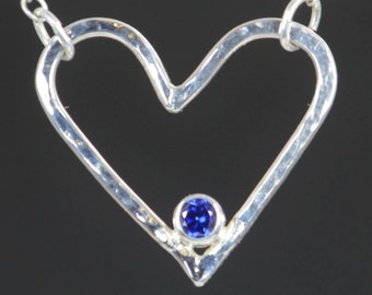 Sapphire Heart Necklace, Sterling Silver, Mothers Necklace, September Birthstone Necklace, Sapphire Necklace, Mother Necklace, Heart Pendant