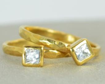 Square CZ Diamond Ring, Diamond, 14k Gold Ring, April's Birthstone Ring, Square Stone Mothers Ring, Square Stone Ring, Diamond Ring