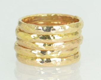 Super Thick Stackable 14k Gold Filled Ring(s), Gold Rings, Stackable Rings, Gold Ring, Hammered Ring, Gold Band, Yellow Gold, Gold Jewelry