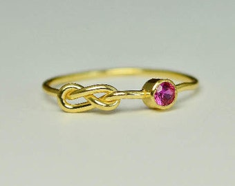 14k Gold Ruby Infinity Ring, 14k Gold Ring, Stackable Rings, Mother's Ring, July Birthstone Ring, Gold Infinity Ring, Gold Knot Ring