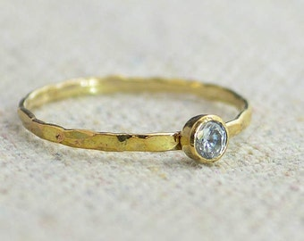 Dainty Gold Filled  CZ Diamond Ring, Hammered Gold, Stacking Rings, Mothers Ring, April Birthstone Ring, Diamond Ring, Rustic Diamond Ring