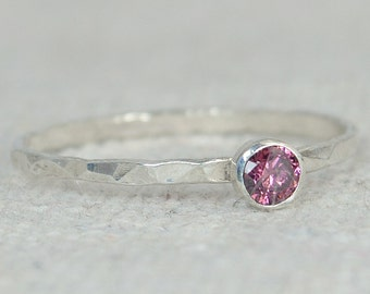 Alexandrite Ring, Thin Silver Ring, Stackable Rings, Mother's Ring, June Birthstone, Skinny Ring, Dainty Alexandrite, Gemstone Ring, Alari