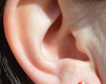 Red Circle Earrings, Sterling Silver Earrings, Silver Stud Earrings, Simple Silver Earrings, Red Earrings, Nano Ceramic Earring