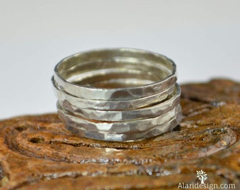 Set of 5 .999 Pure Silver Stackable Rings, Fine Silver, Stack Rings, Stacking Rings, Made to Order, Silver Rings