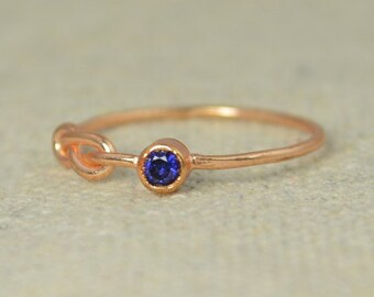Sapphire Infinity Ring, Rose Gold Filled Ring, Stackable Rings, Mother's Ring, September Birthstone, Rose Gold Ring, Rose Gold Knot Ring