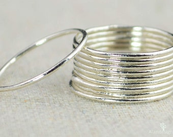 Thin Round Pure Silver Stackable Ring(s), Stacking Rings, Dainty Silver Ring, Silver Boho Ring, Rustic Silver Rings, Thin Silver Rings