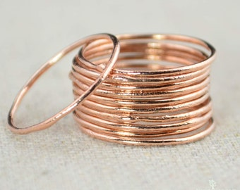 Thin Round Copper Stacking Ring(s), Pure Copper, Copper Stacking Ring, Copper Jewelry, Dainty Copper Ring, Copper boho Ring, arthritis ring