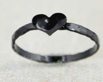 Black Heart Ring, Sterling Silver, Stacking Ring, Personalized Heart Ring, Black Ring, Initial Heart Ring, Initial Ring, BFF Ring, Goth Ring