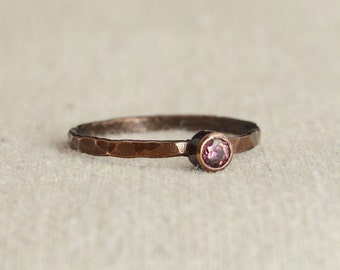 Bronze Copper Alexandrite Ring, Classic Size, Stackable Rings, Mother's Ring, June Birthstone, Copper Jewelry, Solitaire, Pure Copper, Band