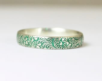 Floral Band, Silver Flower Ring, Swirl Ring, Green Ring, Sterling Silver Ring, Sterling Stack Ring, Silver Band, Romantic Boho Ring