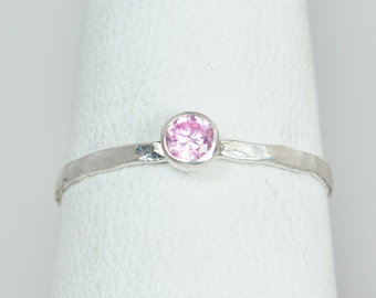 Dainty Pink Tourmaline Ring, Silver, Stackable Rings, Mother's Ring, October Birthstone Ring, Skinny Ring, Birthday Ring, Rustic Silver RIng