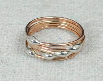 Rose Gold and Silver Dew Drop Rings, Stacking Rings, Bimetal Rings, Silver Rings, Hippie Ring, Dew Drop Rings, Unique Gold Rings, Alari