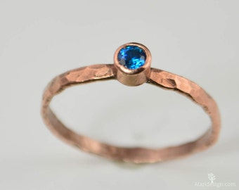 Copper Blue Zircon Ring, Classic Size, Blue Zircon Mother's Ring, Decembers Birthstone Ring, Copper Jewelry, Blue Zircon Ring, Pure Copper