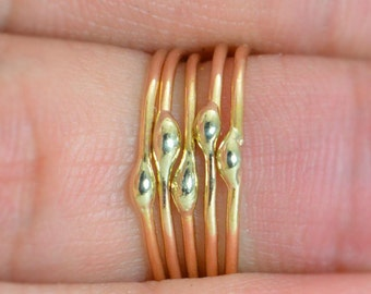 Unique Gold and Solid 18k Gold Dew Drop Stacking Ring(s), 14k Gold filled, Hippie Ring, Gold Boho Rings, Gold Dew Drop Rings, Bohemian Ring