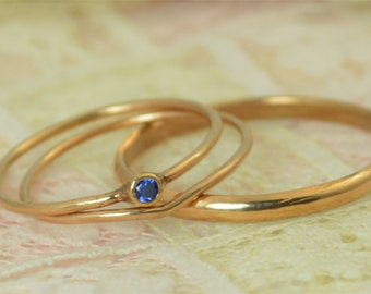 Tiny Sapphire Ring Set, Solid 14k Rose Gold Wedding Set, Stacking Ring, Solid 14k Gold Sapphire Ring, September Birthstone, Bridal Set