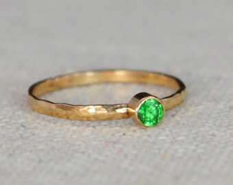 Classic Rose Gold Filled Emerald Ring, Solitaire, Solitaire Ring, Rose Gold Filled, May Birthstone, Mothers Ring, Gold Band, Emerald Ring