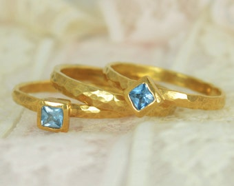 Square Aquamarine Engagement Ring, Gold Filled, Aquamarine Wedding Ring Set, Rustic Wedding Ring Set, March Birthstone, 14k Gold Filled