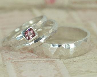 Square Alexandrite Engagement Ring, 14k White Gold, Alexandrite Wedding Ring Set, Rustic Wedding Ring Set, June Birthstone, Alexandrite