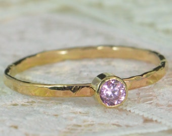 Pink Tourmaline Engagement Ring, 14k Gold, Pink Tourmaline Wedding Ring Set, Rustic Wedding Ring Set, October Birthstone, Solid 14k Ring
