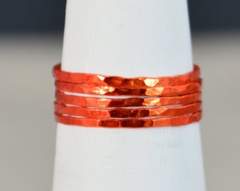 Set of 5 Super Thin Orange Silver Stackable Rings, Orange Ring, Stack Rings, Orange Stacking Rings, Orange Jewelry, Thin Orange Ring