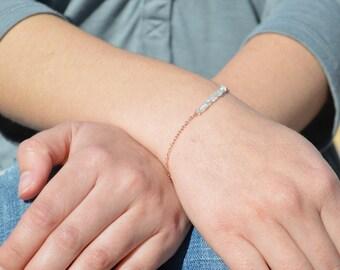 Aquamarine Bracelet, Danity Stacking Bracelet, 14k Gold Fill, Sterling Silver, Rose Gold, Blue Bracelet, Bar Bracelet, Gold Bracelet