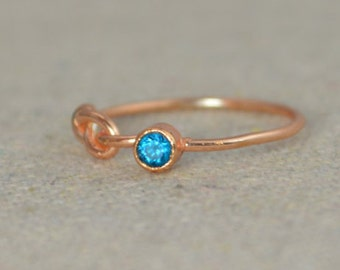 Blue Zircon Infinity Ring, Rose Gold Filled Ring, Stackable Rings, Mothers Ring, December Birthstone, Rose Gold Ring, Rose Gold Knot Ring
