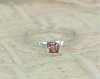Square Alexandrite Engagement Ring, Sterling Silver, Alexandrite Wedding Ring Set, Rustic Wedding Ring Set, June Birthstone, Alexandrite
