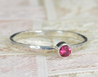 Ruby Engagement Ring, Sterling Silver, Ruby Wedding Ring Set, Rustic Wedding Ring Set, July Birthstone, Sterling Silver Ruby Ring