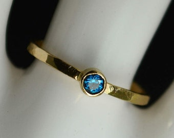 Classic 14k Gold Filled Blue Zircon Ring, Gold solitaire, solitaire ring, 14k gold filled, December Birthstone, Mothers Ring, gold band