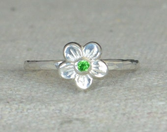 Emerald Flower Ring, Flower Ring, Floral Ring, Emerald Ring, Flower Jewelry, Sterling Flower Ring, Nature Ring, Flower Girl Ring, Dainty