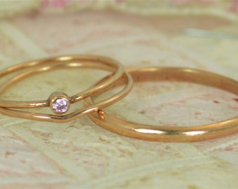 Tiny Pink Tourmaline Ring Set, Solid 14k Rose Gold Wedding Set, Stacking Ring, 14k Gold Tourmaline Ring, October Birthstone, Bridal Set