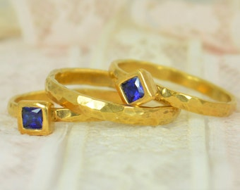 Square Sapphire Engagement Ring, Gold Filled, Sapphire Wedding Ring Set, Rustic Wedding Ring Set, September Birthstone, 14k Gold Filled