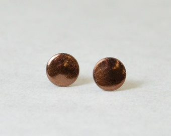 Brown Silver Circle Earrings, Sterling Silver Earrings, Silver Stud Earrings, Simple Silver Earrings, Brown Earring, Nano Ceramic Earring