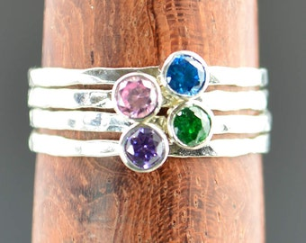 Grab 4 - Dainty Silver Mothers Rings, Mother's Ring, Grandmas Rings, Mommy Ring, Mothers Jewelry, Mothers Ring, Gift for Mom