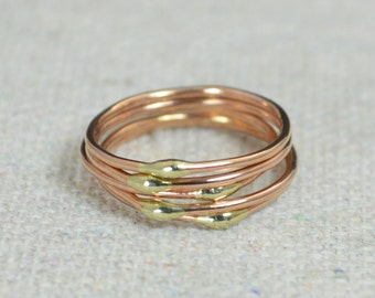 Unique Rose Gold and Solid 14k Gold Dew Drop Stacking Ring(s),Bimetal Ring, Hippie Ring, Gold Boho Rings, Gold Dew Drop Rings, Bohemian Ring
