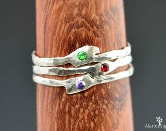 Thin Freeform Rings, Birthstone Ring, Grab 3, Stacking Rings, Gemstone Rings, Flush Set Stone Ring, Freeform Stone Rings, Alari, 3 Ring Set