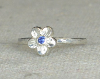 Small Flower Sapphire Ring, Silver Sapphire Ring, Flower Ring, Forget Me Not, Flower Jewelry, Sterling Flower Ring, Sapphire floral ring