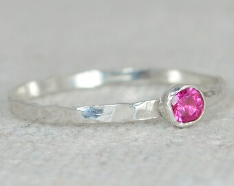Dainty Ruby Ring, Hammered Silver, Stackable Rings, Mother's Ring, July Birthstone Ring, Skinny Ring, Birthday Ring
