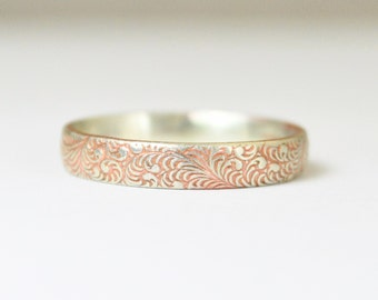 Silver Flower Ring, Floral Band, Swirl Ring, Pink Ring, Sterling Silver Ring, Sterling Stack Ring, Silver Band, Romantic Boho Ring
