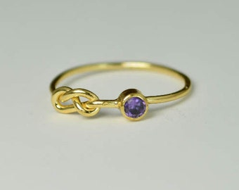 14k Gold Amethyst Infinity Ring, 14k Gold Ring, Stackable Rings, Mothers Ring, February Birthstone Ring, Gold Infinity Ring, Gold Knot Ring