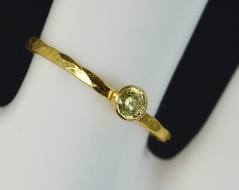 Dainty Solid 14k Gold Topaz Ring, 3mm gold solitaire, solitaire ring, real gold, November Birthstone, Mothers RIng, Solid gold band, gold