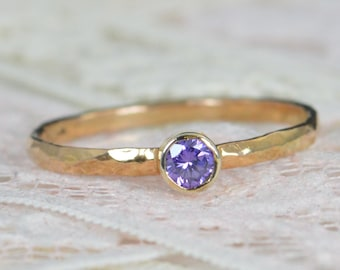 Amethyst Engagement Ring, 14k Rose Gold, Amethyst Wedding Ring Set, Rustic Wedding Ring Set, February Birthstone, Solid 14k Amethyst Ring