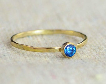 Dainty Gold Filled Blue Zircon Ring, Hammered Gold, Stackable Rings, Mother's Ring, December Birthstone Ring, Skinny Ring, Rustic BlueZircon