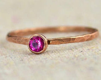 Dainty Copper Ruby Ring, Hammered Copper, Stackable Rings, Ruby Mother's Ring,  July Birthstone Ring, Copper Jewelry, Ruby Ring, Copper Ruby