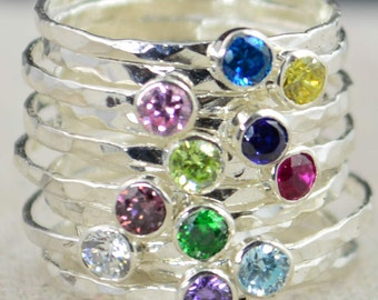 Stackable Birthstone Rings, Stackable Gemstone Rings, Birthstone Rings, Thin Silver Stackable Rings, Gemstone Rings, Birthstone Jewelry