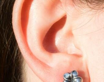 Flower Earrings, Sterling Floral Earrings, Silver Stud Earrings, Simple Earrings, Flower Girl Gift, Flower Girl Earrings, Flower Jewelry